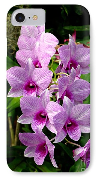 Cascading Lilac Orchids Phone Case by Sue Melvin