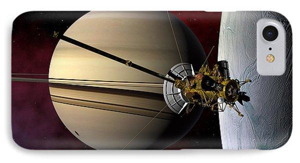 Cassini Probe Passing Enceladus IPhone Case by David Robinson