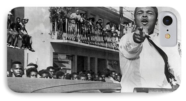 Cassius Clay In Football Parade IPhone Case by Underwood Archives