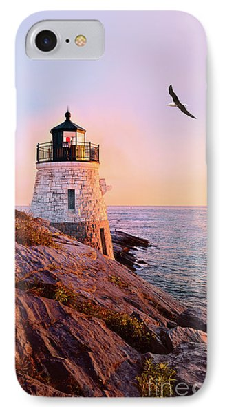 Castle Hill Lighthouse 2 Newport IPhone Case by Marianne Campolongo