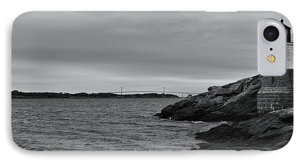 Castle Hill Lighthouse And Newport Bridge Rhode Island IPhone Case by Matthew Rounds
