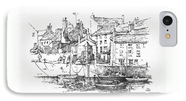 IPhone Case featuring the drawing Castletown Harbour by Paul Davenport