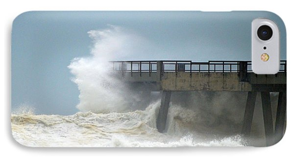 0828 Cat 1 Hurricane Isaac Crashes Into Navarre Beach Pier IPhone Case by Jeff at JSJ Photography