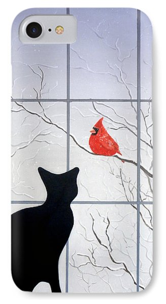 Cat And Cardinal IPhone Case by Karyn Robinson