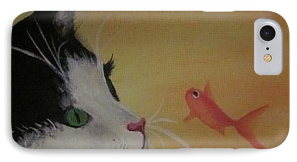 Cat And Fish Phone Case by Cherie Sexsmith