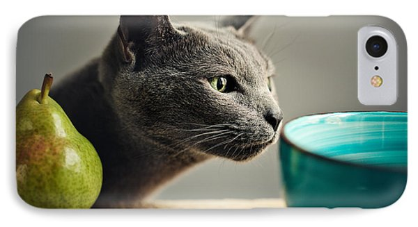 Cat iPhone 7 Case - Cat And Pears by Nailia Schwarz