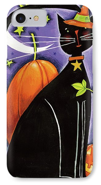 Cat And Pumpkins IPhone Case by Anne Tavoletti