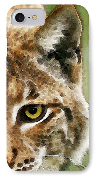 Cat Art - Lynx 2 IPhone Case by Sharon Cummings