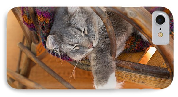 Cat Asleep In A Wooden Rocking Chair Phone Case by Louise Heusinkveld