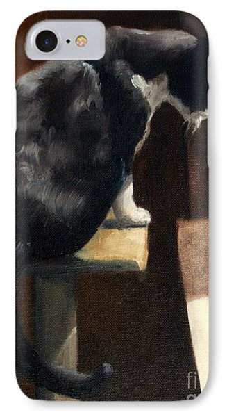 Cat At A Window With A View Phone Case by Lisa Phillips Owens