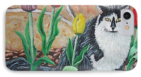Cat By The Tulips  IPhone Case