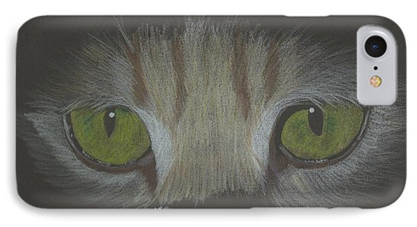IPhone Case featuring the drawing Cat Eyes Study by Sheila Byers