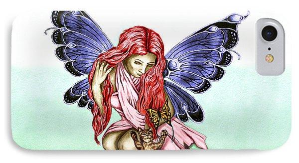 Cat Fairy In Blue  IPhone Case by Peter Piatt