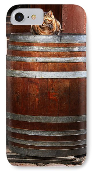 Cat Guarding A Wine Barrel In Alsace Phone Case by Greg Matchick
