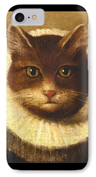 Cat In A Ruff IPhone Case by Vintage Art