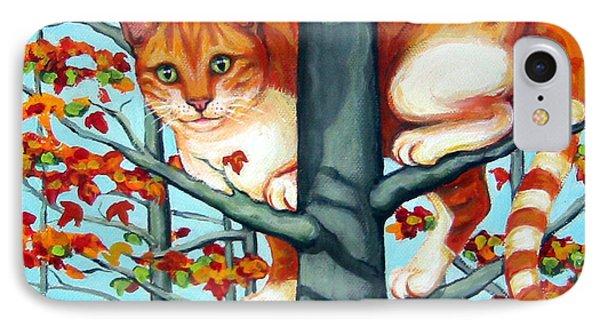 Orange Cat In Tree Autumn Fall Colors IPhone Case by Rebecca Korpita