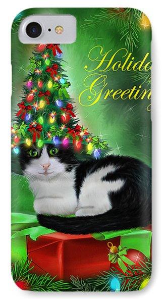 Cat In Christmas Tree Hat Phone Case by Carol Cavalaris