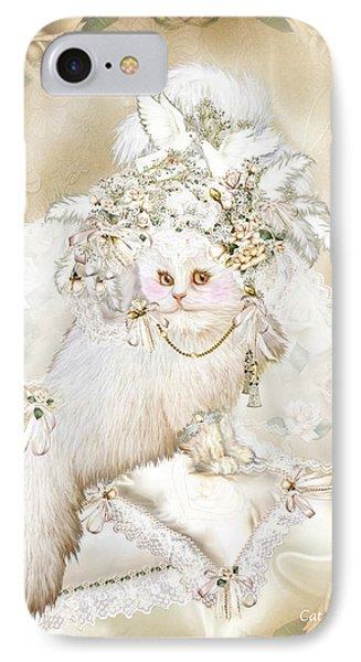 Cat In Fancy Bridal Hat Phone Case by Carol Cavalaris