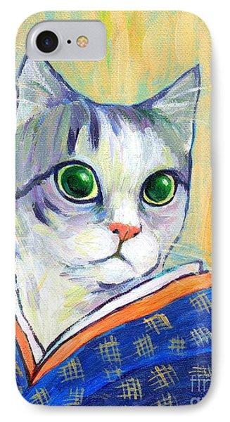 cat in kimono of Ukiyoe style Phone Case by Jingfen Hwu