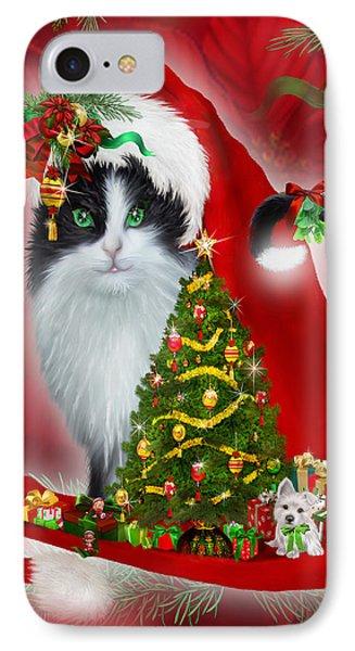 Cat In Long Santa Hat Phone Case by Carol Cavalaris