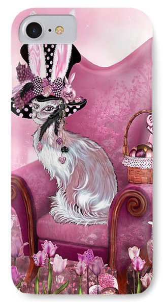 Cat In Mad Hatter Hat Phone Case by Carol Cavalaris