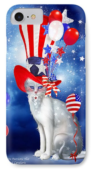 Cat In Patriotic Hat IPhone Case by Carol Cavalaris