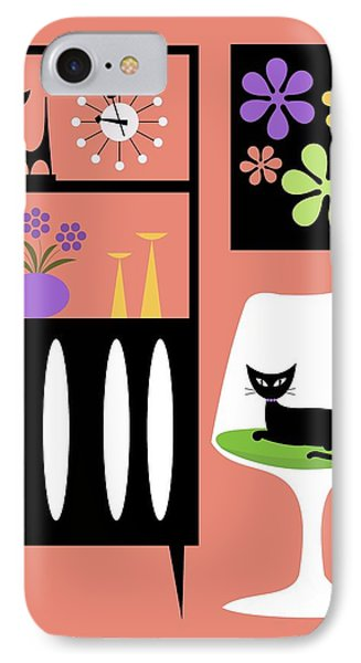 Cat In Pink Room Phone Case by Donna Mibus