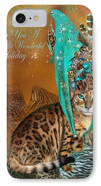 Cat In The Leopard Trim Santa Hat IPhone Case