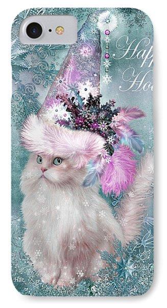 Cat In The Snowflake Santa Hat IPhone Case