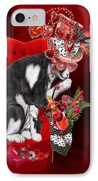 Cat In The Valentine Steam Punk Hat IPhone Case by Carol Cavalaris