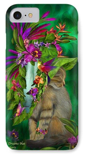 Cat In Tropical Dreams Hat Phone Case by Carol Cavalaris