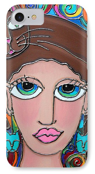 Cat Lady With Brown Hair IPhone Case by Cynthia Snyder