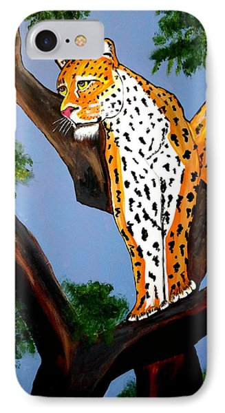 IPhone Case featuring the painting Cat On A Hot Wood Tree by Nora Shepley
