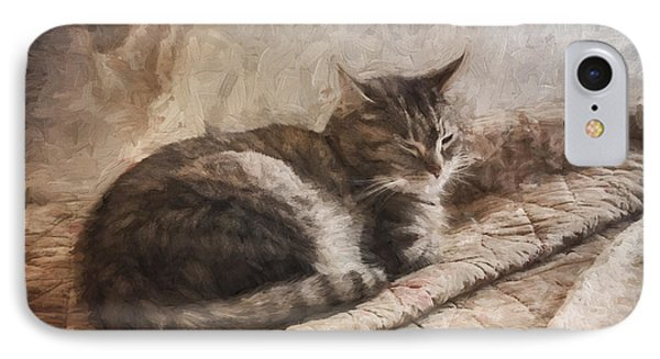 Cat On The Bed Painterly IPhone Case