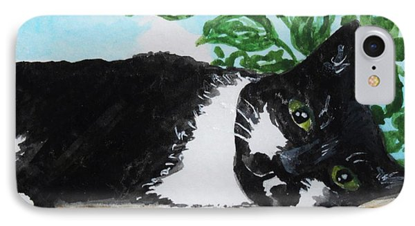 IPhone Case featuring the painting Cat Out On The Deck by Elizabeth Robinette Tyndall