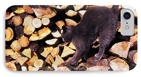 Cat Stretching On Firewood Phone Case by Thomas R Fletcher