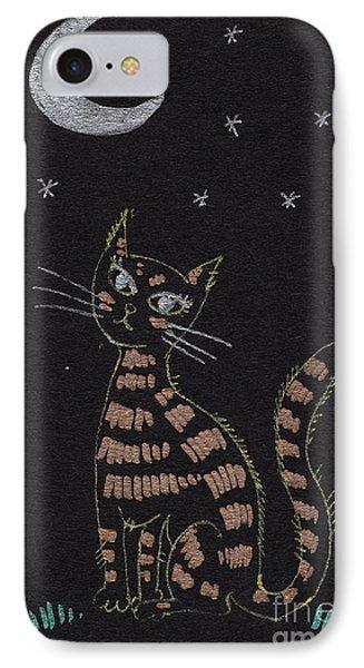 Cat Under The Moonlight Phone Case by Angel  Tarantella