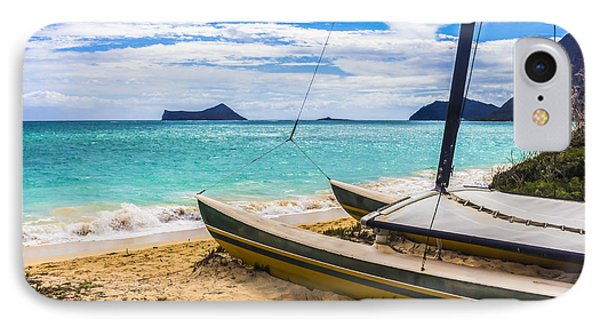 Catamaran On Waimanalo Beach IPhone Case