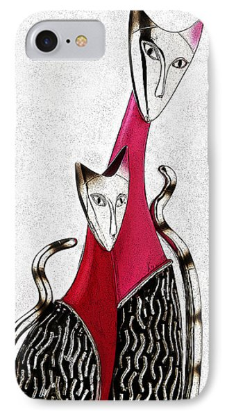 IPhone Case featuring the drawing Catcat by Selke Boris