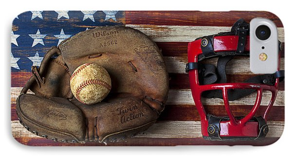 Catchers Glove On American Flag IPhone Case by Garry Gay