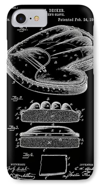 Catcher's Glove Patent 1891 - Black IPhone Case by Stephen Younts
