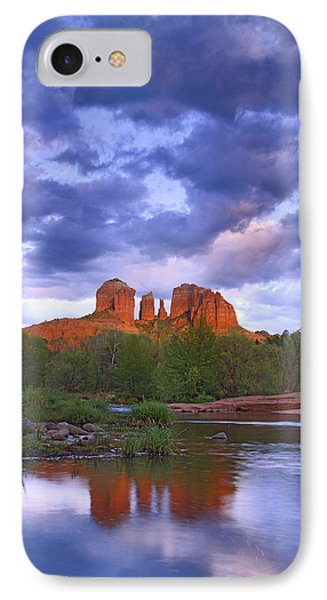 Cathedral Rock And Oak Creek At Red IPhone Case by Tim Fitzharris