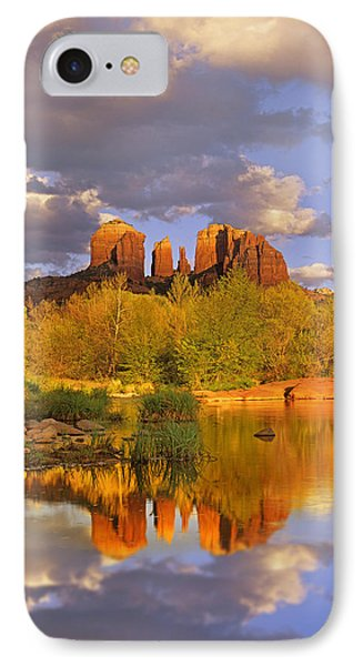 Cathedral Rock Reflected In Oak Creek IPhone Case by Tim Fitzharris