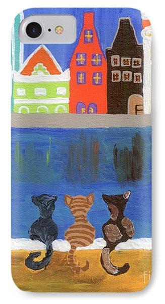 Cats Enjoying The View Phone Case by Melissa Vijay Bharwani