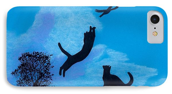 IPhone Case featuring the drawing Cats -  Playing by D Hackett