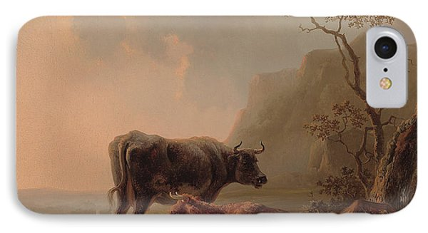 Cattle In An Italianate Landscape IPhone Case by Jacob van Strij