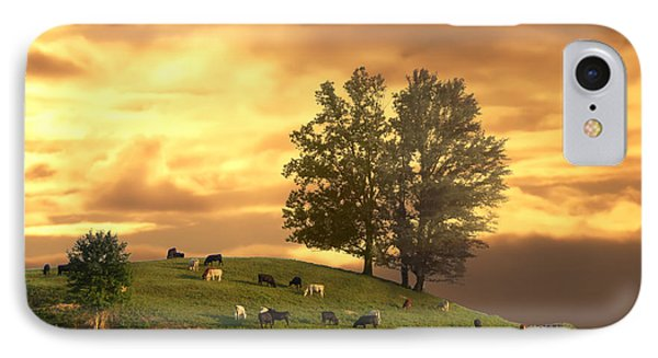 Cattle On A Hill IPhone Case by Randall Branham