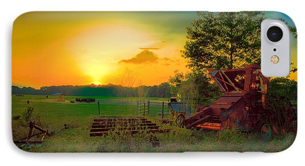 Cattle Ranch Sundown IPhone Case by Lewis Mann