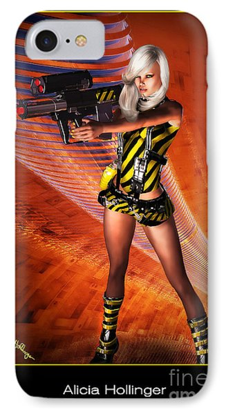 Caution Sci-fi Blonde With A Gun Phone Case by Alicia Hollinger