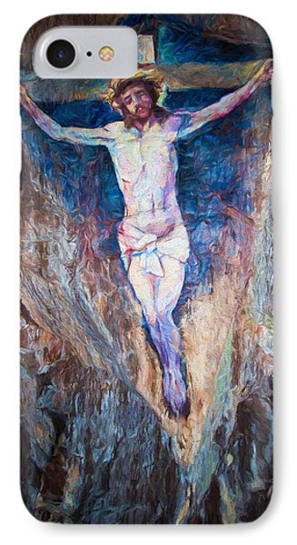 Cave Painting Of The Crucifixion IPhone Case by Roy Pedersen